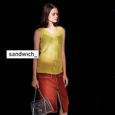 sandwish_微透視前打摺設計紡紗造型上衣-錫蘭黃綠