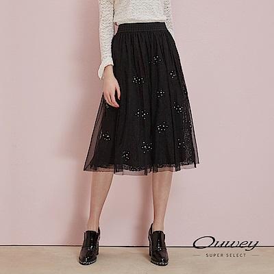 OUWEY歐薇 百搭蕾絲造型釘珠網紗刺繡長裙(黑)
