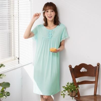 華歌爾睡衣-舒爽冰涼 M-LL 圓領短袖家居裙(綠)緹織涼感紗