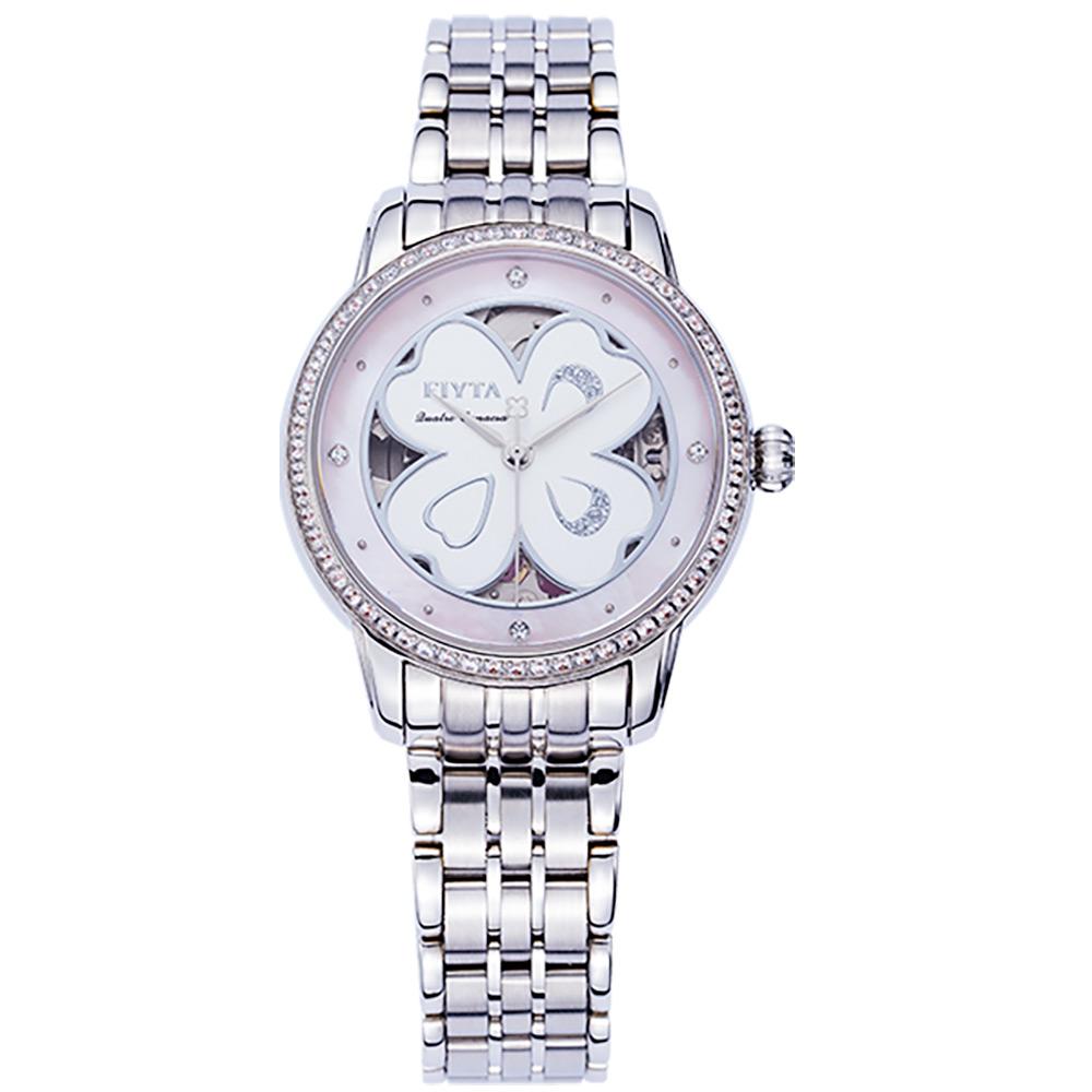 FIYTA飛亞達 四葉草系列機械錶(LA862006.WSWD)-白色/34.6mm