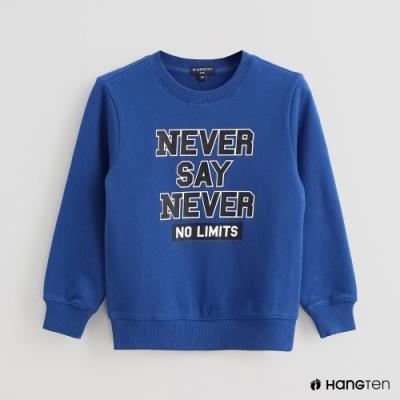 Hang Ten -童裝 -純色字母印花長袖上衣-藍