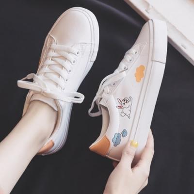 韓國KW美鞋館 俐落美感印花小白鞋-粉