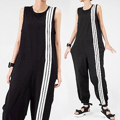 運動風側條紋寬版連身褲裝-(黑色)Andstyle