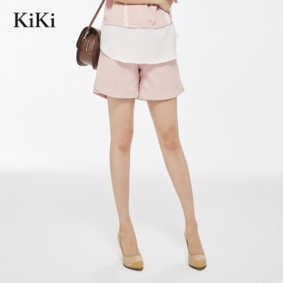 【KiKi】優雅立體織紋-短褲(二色)