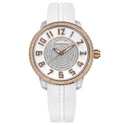 Tendence 天勢表 立體刻度施華洛世奇防水矽膠手錶-白x玫瑰金框/42mm