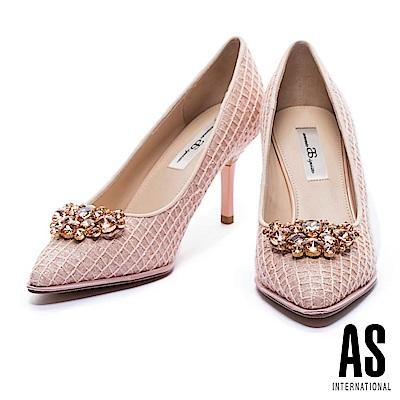 高跟鞋 AS 優雅甜美鑽飾設計尖頭高跟鞋-粉