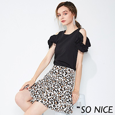 SO NICE俏麗豹紋印花雪紡短裙