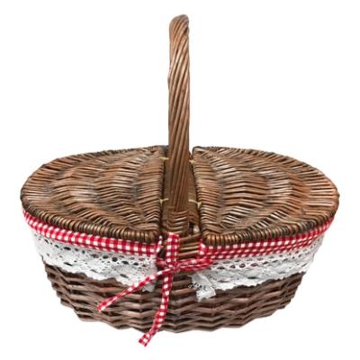 藤編野餐提籃 (橢圓掀蓋)『深棕色』1717027