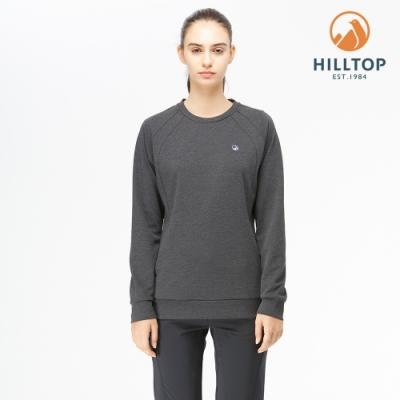 【hilltop山頂鳥】女款POLYGIENE抗菌圓領保暖刷毛上衣H51FJ6黑美人麻花