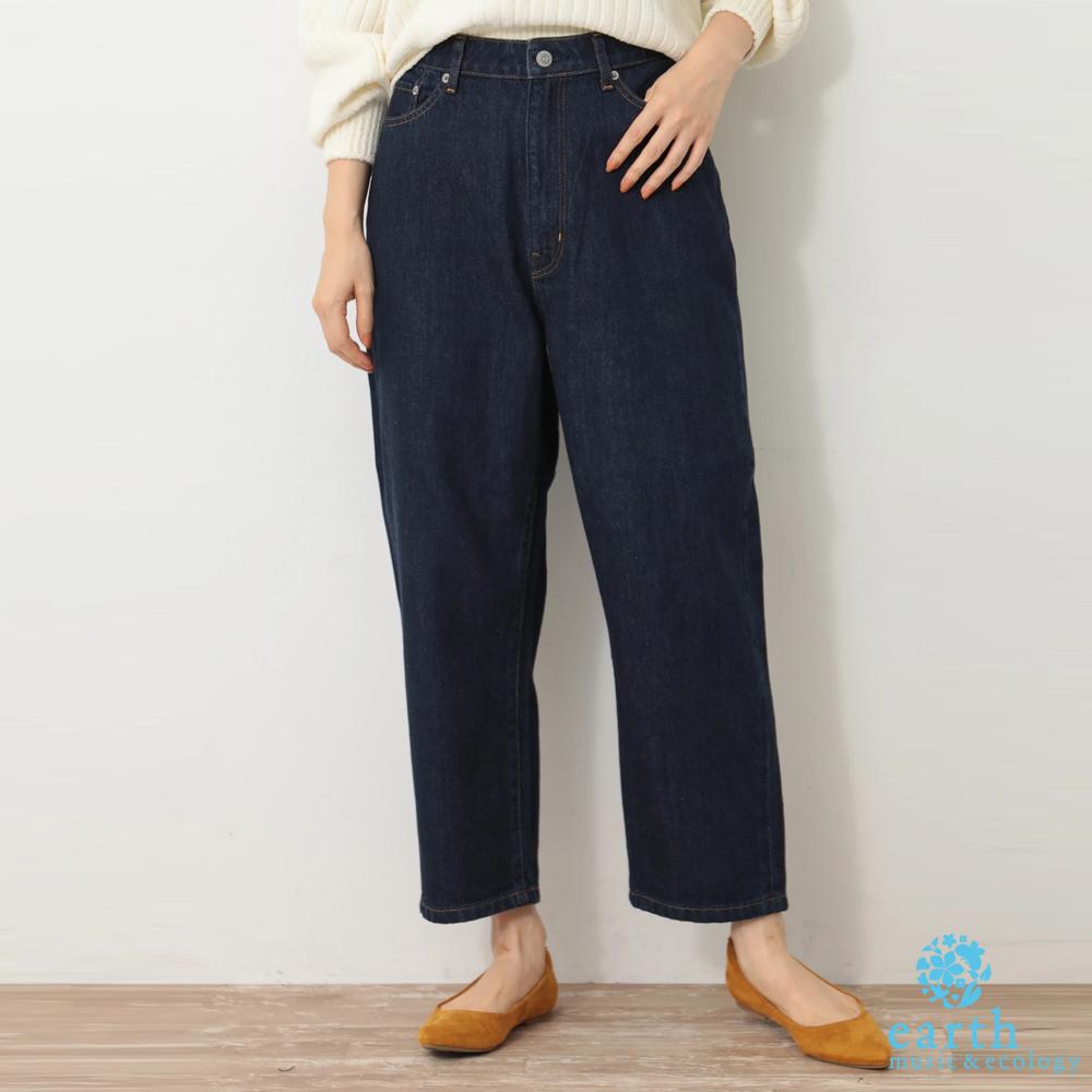 earth music 美國棉寬版錐形牛仔褲