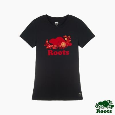 Roots女裝- 農曆新年系列 修身版花卉短袖T恤-黑色