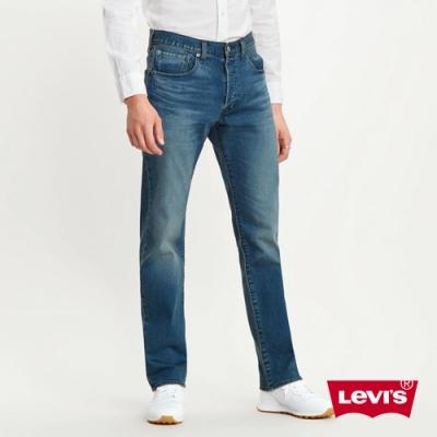 Levis 男款 501排釦直筒牛仔褲 中藍刷白 彈性布料