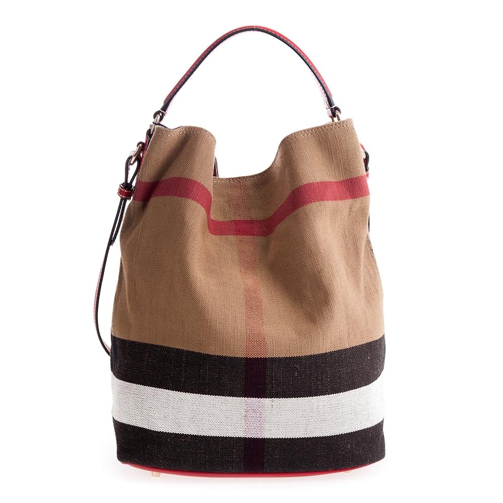 BURBERRY THE ASHBY CANYAS 格紋皮革中款水桶包 (紅色)