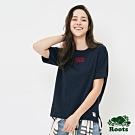 女裝ROOTS -立體刺繡厚棉短袖T恤-藍