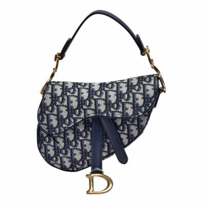Dior 經典SADDLE系列OBLIQUE緹花布小牛皮飾邊手提包(迷你_藍)