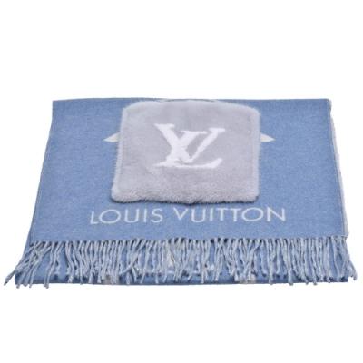 LV M76342 COLD REYKJAVIK系列山羊絨口袋圍巾(藍)