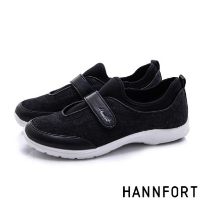 HANNFORT 澳洲 EASY WALK丹寧羊皮氣墊健走鞋 女 黑