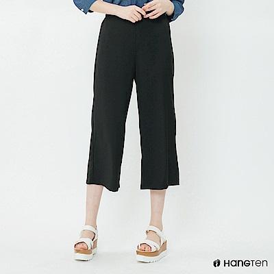 Hang Ten - 女裝 - 簡素面後鬆緊寬褲 - 黑