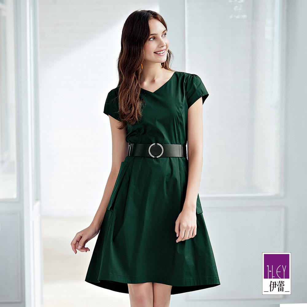 ILEY伊蕾 都會配色腰帶短袖洋裝(綠)