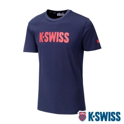 K-SWISS Contrast Logo Tee棉質吸排T恤-男-藍