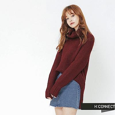H:CONNECT 韓國品牌 女裝-側開岔翻領針織毛衣-紅