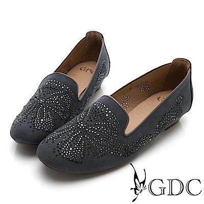 GDC-煙火綻放水鑽舒適平底包鞋-深灰色