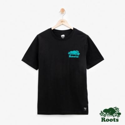 男裝Roots- 左胸立體轉印短袖T恤-黑