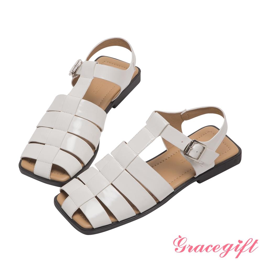 Grace gift-編織繫踝平底涼鞋 米白