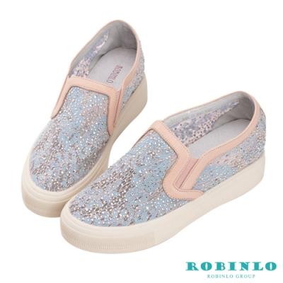 Robinlo 浪漫雙色蕾絲鑲鑽微增高休閒鞋 粉藍色