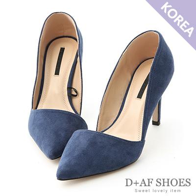 D+AF 典雅魅力.麂絨斜口尖頭高跟鞋*藍