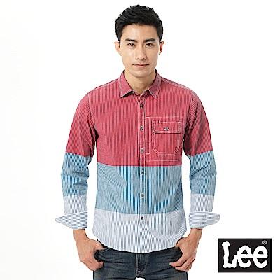 【Lee】拼接長袖襯衫-男款-紅藍