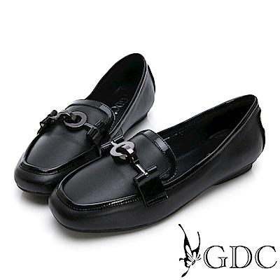 GDC-真皮歐美時尚微方頭休閒鞋-黑色