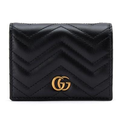 [時時樂限定]GUCCI GG Marmont系列仿舊金色雙G LOGO牛皮山字車紋卡夾/零錢短夾 黑色