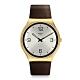 Swatch 超薄金屬系列手錶 SKIN SUIT COFFEE 紳裝咖啡面-42mm product thumbnail 1
