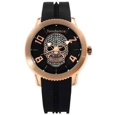 Tendence 天勢錶 晶鑽骷髏弧型礦石強化玻璃防水矽膠手錶-黑x玫瑰金/47mm