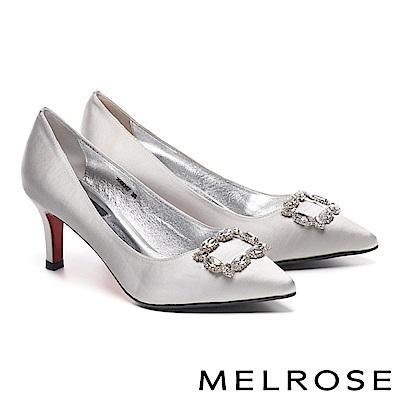 高跟鞋 MELROSE 高雅奢華璀璨晶鑽方釦緞布尖頭高跟鞋-灰