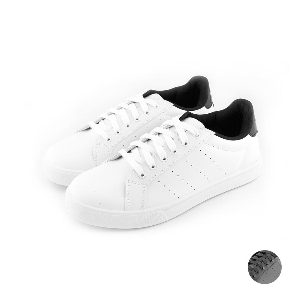 ARRIBA艾樂跑男鞋-素色皮質休閒鞋-白黑/全黑(AB8045)