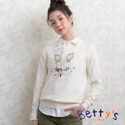 betty's貝蒂思 圓領亮片動物毛衣(白色)