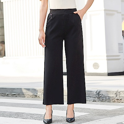 高腰彈力鬆緊休閒寬褲-XL~4XL-理子時尚