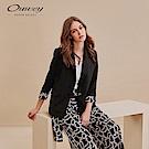 OUWEY歐薇 簡約黑白印花兩件式西裝外套(黑)