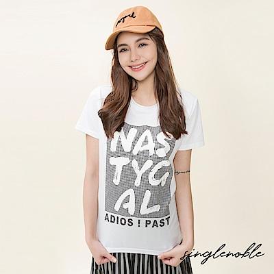 singlenoble 壞女孩燙印草寫字母設計上衣(2色)