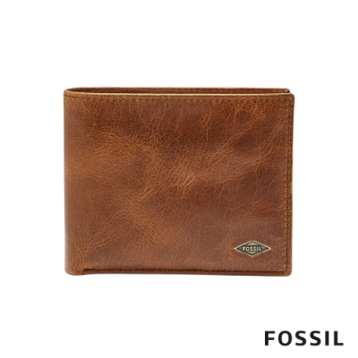 FOSSIL RYAN 真皮證件格RFID男夾-淺褐色