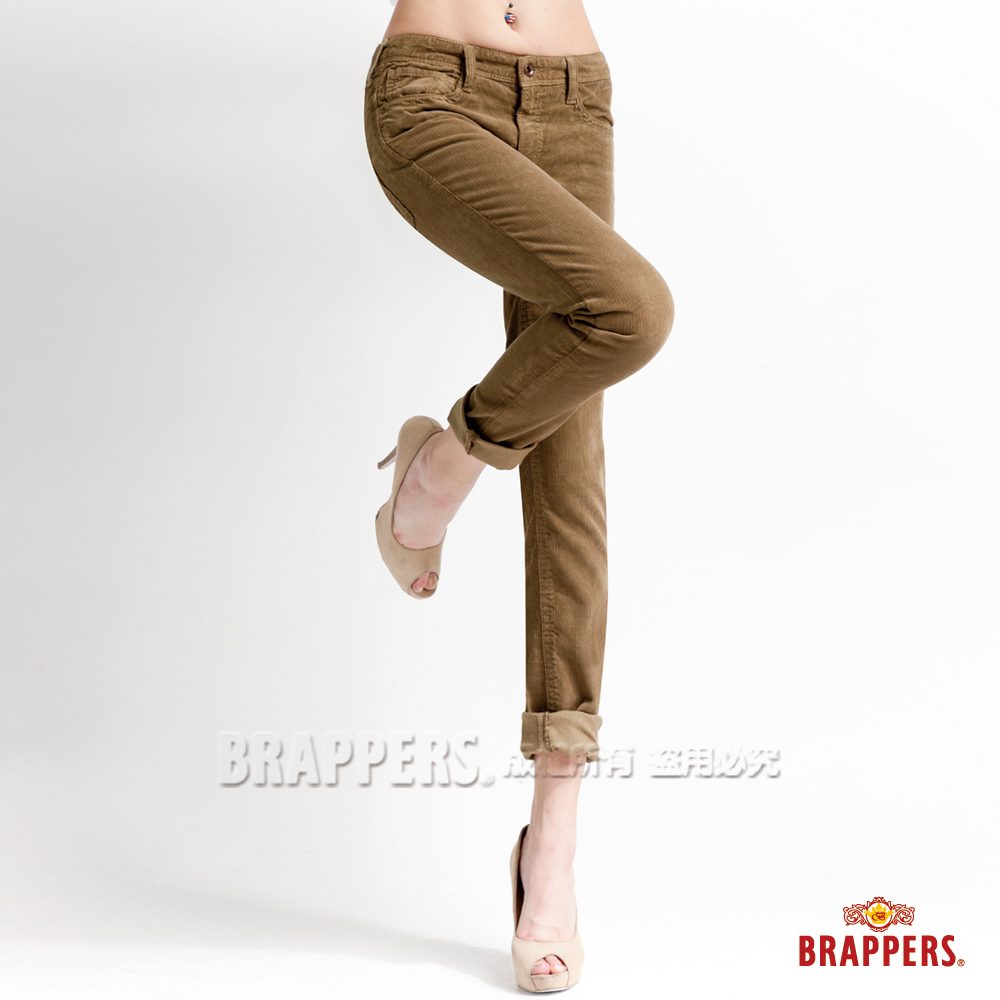BRAPPERS 女款 Boy Friend Jeans系列-條絨反摺直筒褲-淺綠