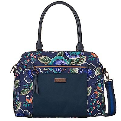 織帶托特手提包-法國玫瑰復刻印花 -紺青藍 LiliO