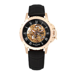 Manlike曼莉萊克羅馬鏤空雕花限量機械錶 玫瑰金 黑面 黑色帶