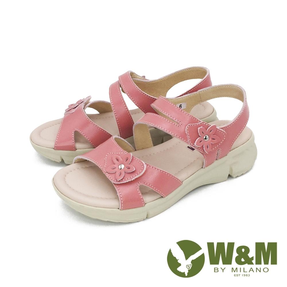 W&M (女)花朵黏扣帶 厚底彈力涼鞋 -粉(另有灰米色)