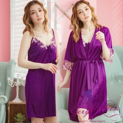 睡衣 全尺碼 V領睡裙+網紗繡花罩衫睡袍二件式睡衣組(典雅深紫) Sexy Meteor