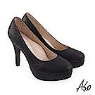 A.S.O 炫麗魅惑 璀璨金箔牛皮水鑽高跟鞋 黑