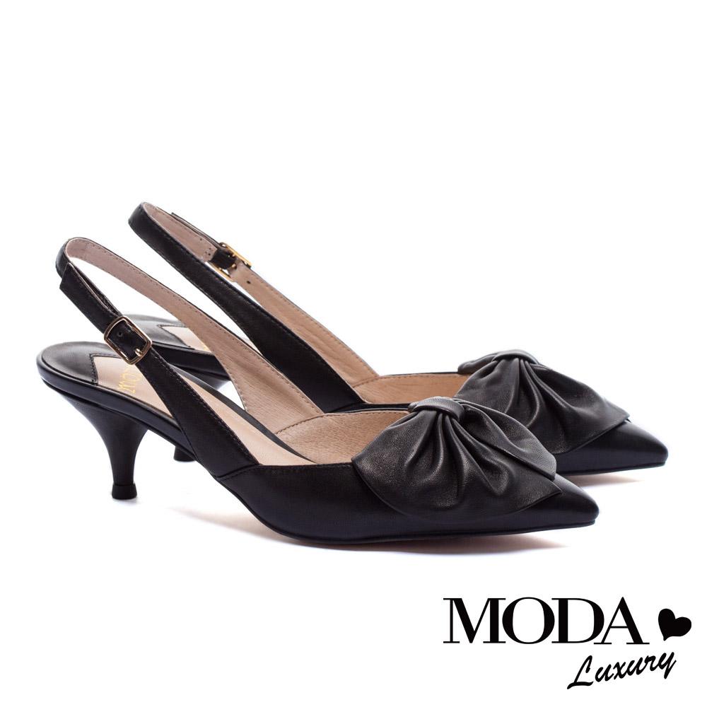高跟鞋 MODA Luxury 浪漫巴黎簡約大蝴蝶結羊皮繫帶尖頭高跟鞋-黑