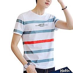 拼色粗條紋短袖T恤上衣 白色-HeHa